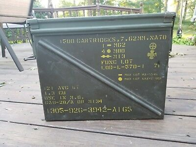 """AMMO BOX 20MM for 1500 CARTRIDGES, 7.62 MM EMPTY MILITARY CAN 18"""" X 14.25"""" X 8"""""""