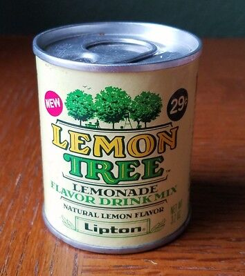 Vintage 3.2oz Lipton Lemon Tree Lemonade Mix NEW & FULL Circa 1979