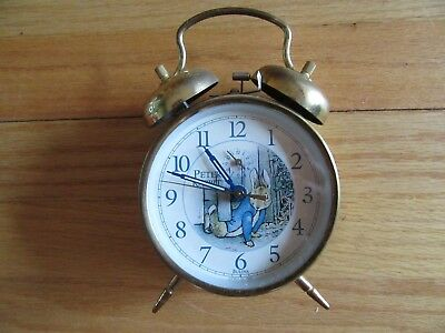 9I/vintage Peter Rabbit Bulova Twin Bell Wind Up Alarm Clock/1996/metal!