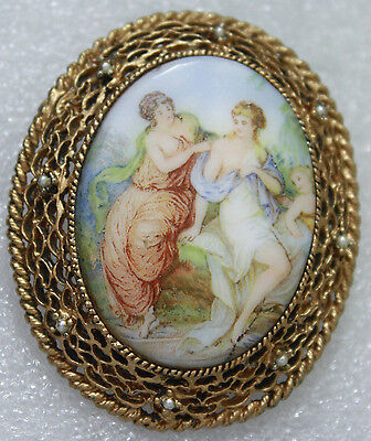 Vintage Victorian Style Painted Ceramic Large Gold Tone Brooch Pin Pendant
