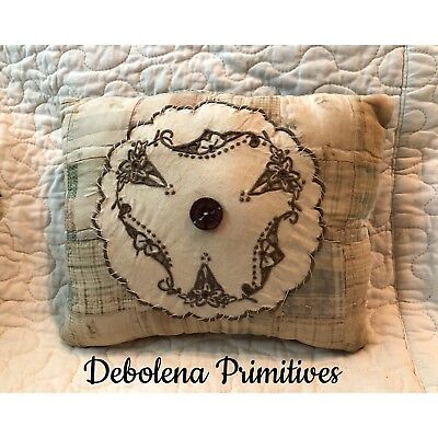 Primitive Quilted Pillow Hand Stitched Vintage Doily Shelf Sitter Homespun Back