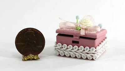 Dollhouse Miniature 1:12 Scale Filled Jewelry Box in Pink by Multi Minis