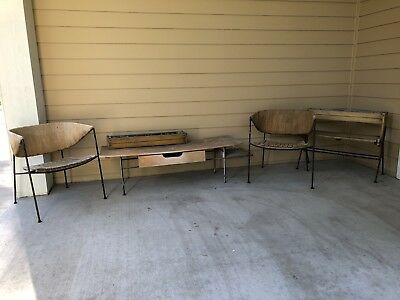 Vintage Wooden / Metal Patio Furniture; Two chairs, table and two planter boxes
