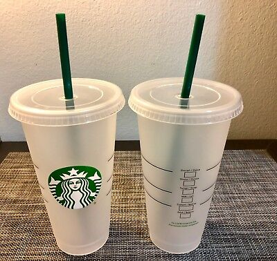 2X STARBUCKS ICED Venti Reusable Cup SUMMER Frosted BPA ...