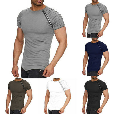 Cn _ Estate Uomo Righe T-Shirt Slim Palestra Scollo Arrotondato Manica Corta