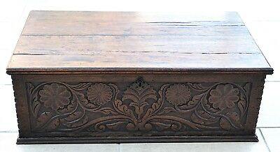 SUPERB Antique Carved Oak Bible Box 18th Century