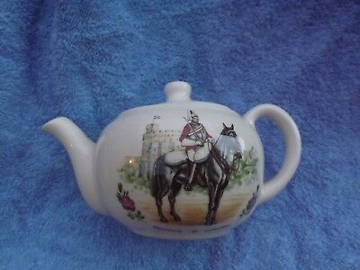 Brixham Devon Fine Earthenware Small Teapot  Made in England, soldier on horse