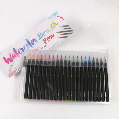 20 Colors Watercolor Fine Brush Water Based Lettering Marker Calligraphy Pen