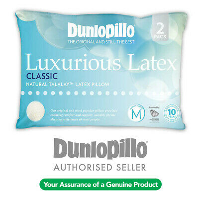 Genuine DUNLOPILLO 2 Pack Talalay Latex Classic Medium Profile & Feel Pillow NEW