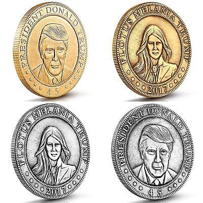 Donald And Melania Trump Antique Commemorative Coins. These 4 Vintage Gold And S