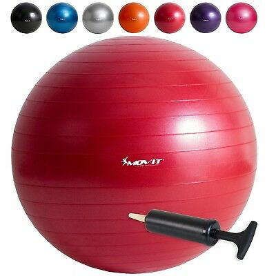 (Red with hand pump, 75cm) - MOVIT® Gymnastics Ball with Pump, Sitting Ball 65
