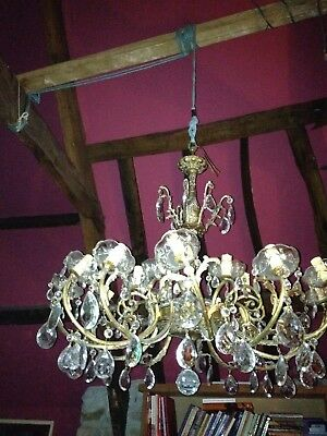 Vintage Brass and Crystal 12 Arm chandelier