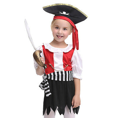 Halloween Costume for Kid Party Girls Pirate Cosplay Outfit Scarf Belt Dress Set