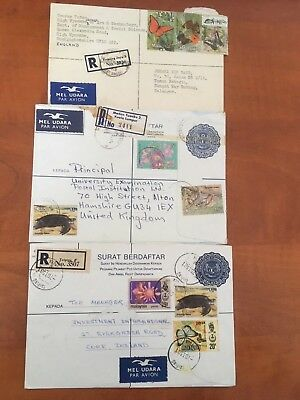 Postal History Malaysia 2 Registered Letters  1981 & 1982 & Reg Cover 1974