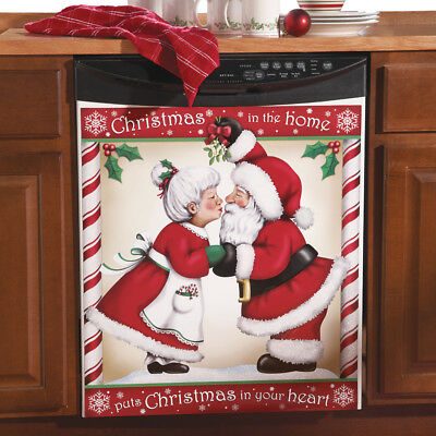Kissing Santa Christmas Kitchen Dishwasher Cover, by Collections Etc
