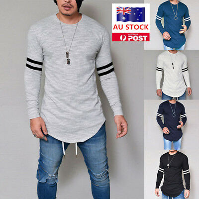Mens Slim Fit Long Sleeve T Shirt Muscle Plain Casual Basic Top Tee Blouse AU