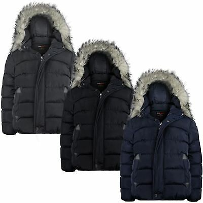 Boys Padded Detach Hood Winter Jacket Teenagers Plain Fleece Lining Coat 3-14 Y
