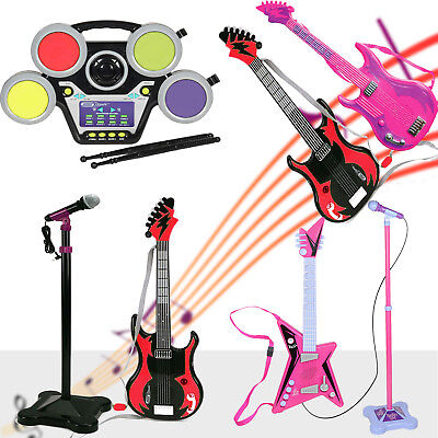 Kids Musical Guitars Stage Mic Drum Set Band Instruments Kit Gift Fun Play Toy