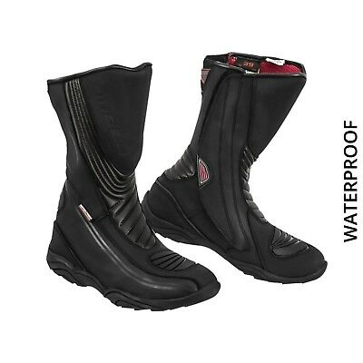 Motorbike Leather Shoes Mens Racing Boot Motorcycle Waterproof Armoured Boots