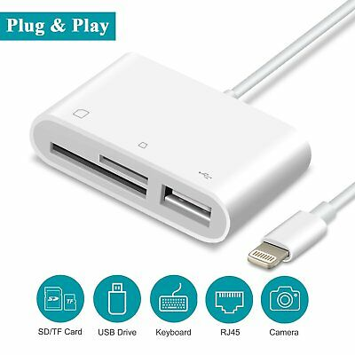 SD Card Reader, VABSCE Lightning to USB Camera Adapter, SD/TF Card Reader