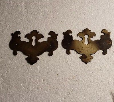 Pr. Matching Decorative Vintage Solid Brass Keyhole Covers Escutcheons (#2010Ha)
