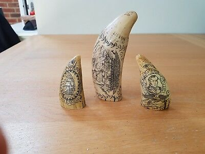 Vintage Scrimshaw collection resin carved sperm whale teeth