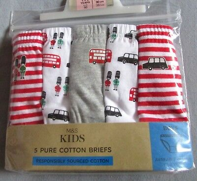 New 5 Pack Boys Pure Cotton Briefs London Print Marks & Spencer Red 18-24 Months