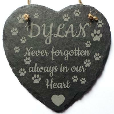 Personalised Dog Memorial Slate Heart Sign ~ Grave Burial Reminder Marker