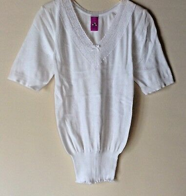 New Ladies Short Sleeve V Neck With Lace Thermal Underwear Warm Vest *snowdrop*