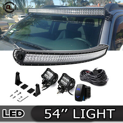 "54""Inch Curved LED Light Bar+4"" LED Work Pods kits For Chevy Silverado 2500"