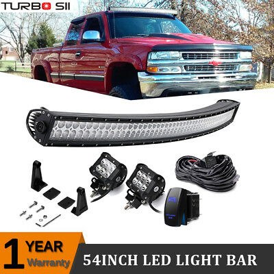 "54"" 312W Driving Curved LED Light Bar +2X Cube + Wire ATV/RTV Chevy Tahoe Boat"
