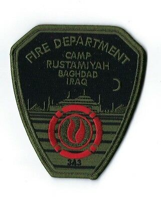 Camp Rustamiyah Baghdad IRAQ Fire Dept. 343 memorial SUBDUED patch - NEW!