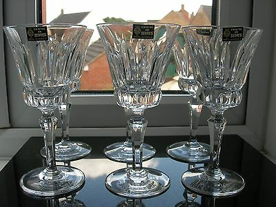 """Sevres"" - Fine Quality - Six Crystal Port Glasses - Signed."