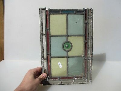 """Antique Stained Glass Window Panel Old Antique Leaded Victorian  13"""" x 9"""""""