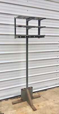 Vtg Metal Industrial Hall Tree Mid Century Gingher Clothes Coat Rack Stand Shelf