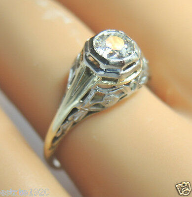 Antique Art Deco Diamond Engagement 14K Yellow White Gold Ring Size 5.75 EGL USA