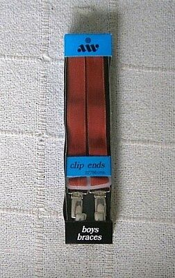 Vintage Boys Braces - Red Stretch Elastic - Metal Clip Ends - New
