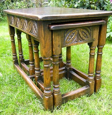 Antique Oak Nest Of 3 Suffolk Carved Tables Superb Example