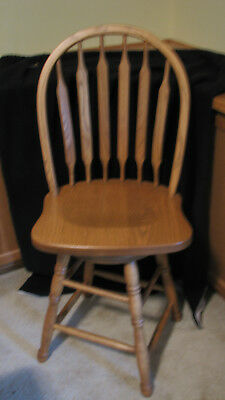 NEW  Bar Stool -  Dining Chair - Kitchen - Swivel Solid Oak Stool made in USA