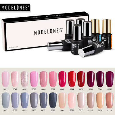 Modelones 8Pcs Esmaltes de Uñas Gel Nail UV LED Base Top Coat Manicure Varnish