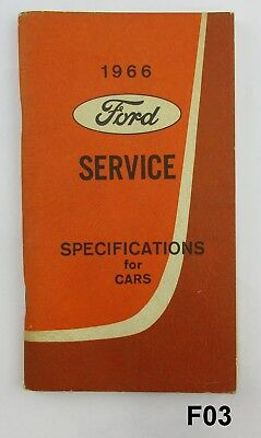 Orig 1966 Ford Car Service Specifications Mustang, Mercury, Falcon, Comet ++ F03