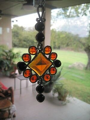 Stained Glass Suncatcher Autumn Halloween Colors Hand Made Leaded Glass Jewel