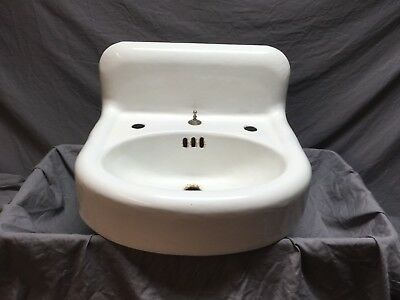 Antique Cast Iron White Porcelain Powder Bath room Wall Sink Old Vintage 481-18E