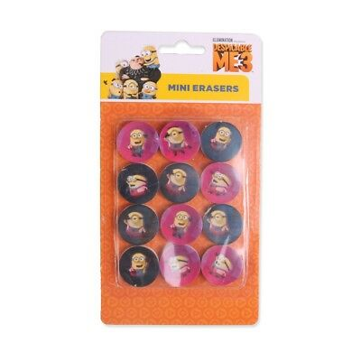 12x GIRLS PINK MINION PENCIL ERASERS Kid School Rubber Stationery Party Gift Bag