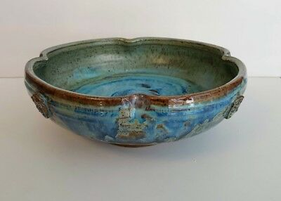 Superb Old Studio Pottery Bowl With Asian Seals Great Glaze Signed Thea?