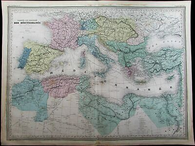 Mediterranean Basin North Africa Italy Turkey c.1865 Dufour old antique map