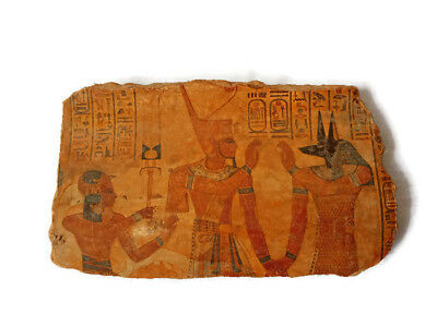 Anubis And King Mena Relief Egyptian Antiques Wall Art