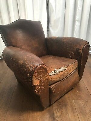 Vintage French Club Chair Dark Tan Leather