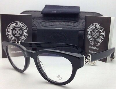8124ba6879 New CHROME HEARTS Eyeglasses KAY GULLS BK 47-20 Black Frame w  Sterling  Silver