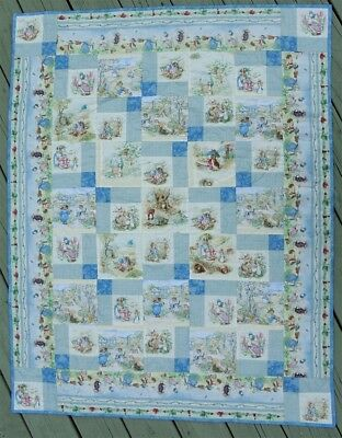 Beatrix Potter Story Character Blue Baby Toddler Handmade RARE Fabric Quilt